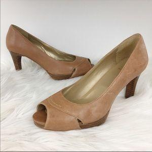 Stuart Weitzman leather cutout peep toe heels